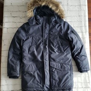 H&M Blue Padded Parka with Faux Fur Hood Sz 8-9
